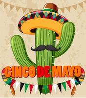 Design de cartaz de cinco de Mayo com cacto com chapéu vetor
