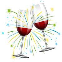 Dois copos com vinho tinto vetor