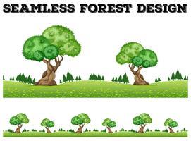 Projeto de plano de fundo sem emenda com árvores no campo vetor