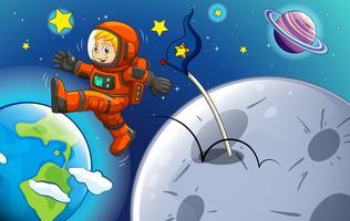 Um jovem astronauta vetor