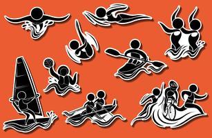 Ícones do esporte para esportes aquáticos vetor