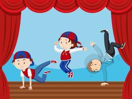 Três crianças, dançar, fase vetor