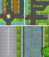 Cenas aéreas de carros nas estradas e estacionamento