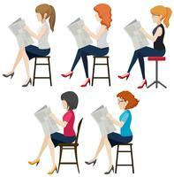 Leitura de mulheres sem rosto vetor