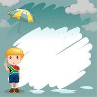 Design de fronteira com menino na chuva