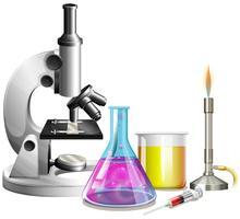 Microscópio e copos com líquido vetor