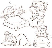 Crianças dormindo e acordando vetor