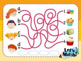 Modelo de jogo de correspondência com crianças e sobremesas vetor
