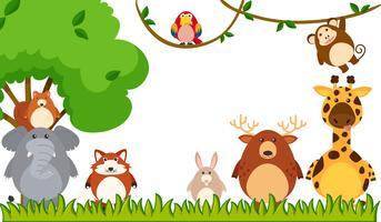Diferentes tipos de animais no parque vetor