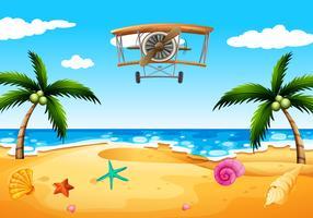 Um avião vintage na praia vetor