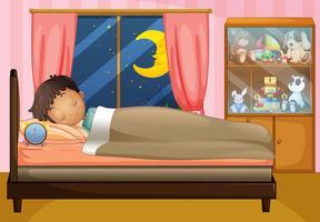 Menino, dormir, em, seu, quarto vetor
