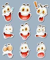 Projeto da etiqueta para expressões faciais vetor