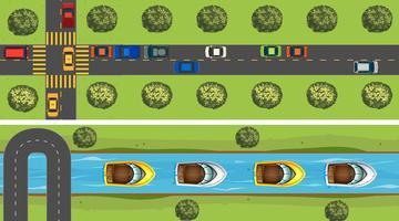 Cena aérea da estrada cheia de carros