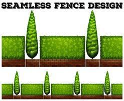 Cerca sem costura com arbustos vetor