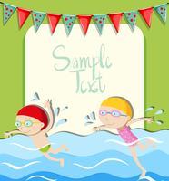 Garota e garoto nadando vetor