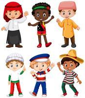 Nacionalidades diferentes de meninos