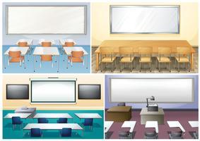 Quatro cenas de sala de aula vetor