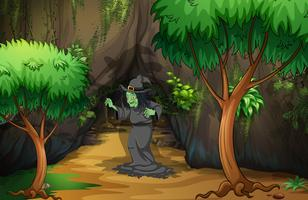 Uma bruxa na floresta vetor