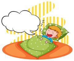 Rapaz dormindo e roncando vetor