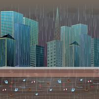 Poluição da água suja noite chuvosa vetor