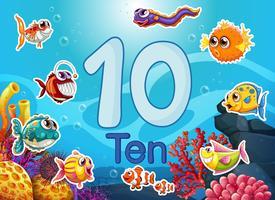 Dez peixes subaquáticos diferentes vetor