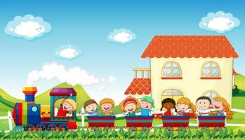Crianças e trem vetor
