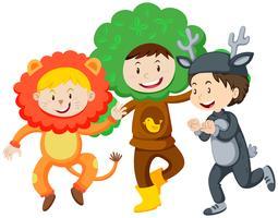 Três crianças em trajes vetor