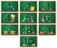 Cartões de números vetor