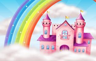 Um lindo castelo pastel e arco-íris