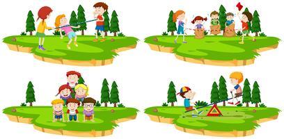 As crianças brincam diferentes jogos no parque