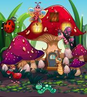 Insetos diferentes que vivem na casa de cogumelo vetor