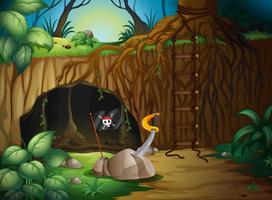 Uma caverna secreta na floresta vetor