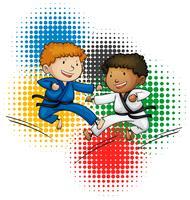 Tema dos Jogos Olímpicos com meninos fazendo taekwando vetor