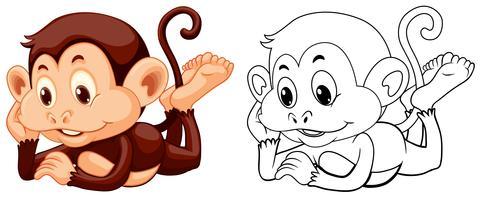 Contorno animal para macaco relaxante vetor
