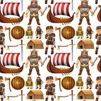 Viking sem costura pessoas e navio vetor