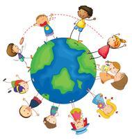 Crianças e globo vetor