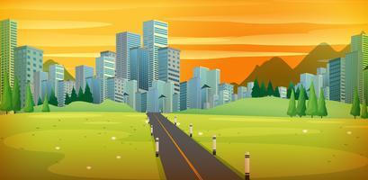 Estrada para a cidade grande céu dourado vetor