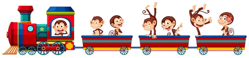 Trem e macacos vetor