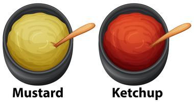 Mostarda e ketchup em fundo branco vetor