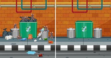 Antes e depois de limpar a rua vetor