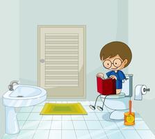 Menino, com, livro, usando, a, banheiro vetor