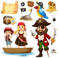 Pirata e tripulação no navio vetor