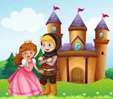 Príncipe e princesa no castelo vetor