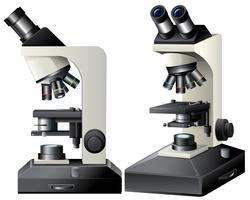 Vista lateral e frontal do microscópio vetor