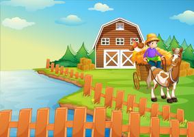 Um menino na fazenda vetor