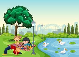Crianças relaxando no parque vetor