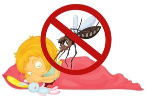 Nenhum mosquito enquanto menina dormindo vetor