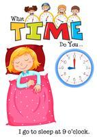 Uma menina vai dormir às 9 horas vetor