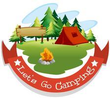 Banner design com tema de acampamento vetor