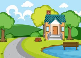 Um, casa rural, paisagem vetor